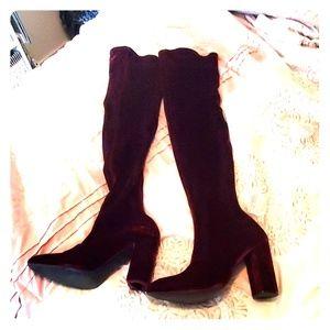 Red velvet zara stretch thigh high boots